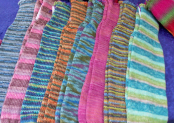 colorful leg warmers
