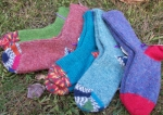 variety of knitted socks